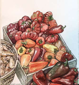 Doodlewash and watercolor sketch by E. O. Brown of red peppers