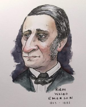 Doodlewash and watercolor sketch by E. O. Brown of Ralph Waldo Emerson 1803-1882