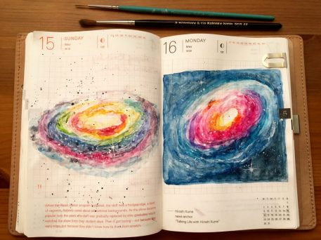 Hobonichi Techo planner with watercolor painting and paint brushes.