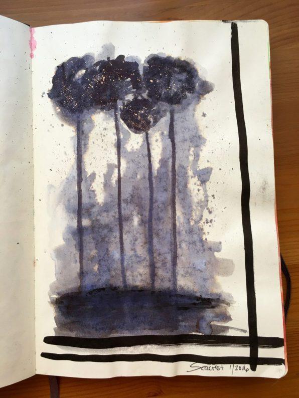 Leda Art Supply Odyssey Sketchbook with ink painting