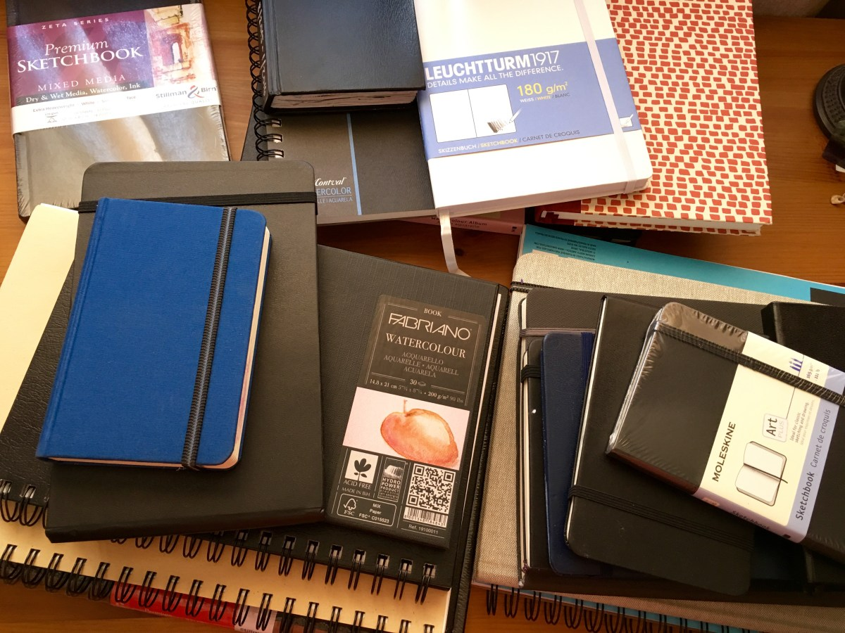 Pile of watercolor and sketch journals, Leuchtturm, Fabriano, Stillman and Birn, travelogue, handbook journal, Moleskine, Canson