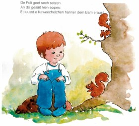 Doodlewash and watercolor painting by Olga Reiff of single page illustration of children's book boy and squirrels