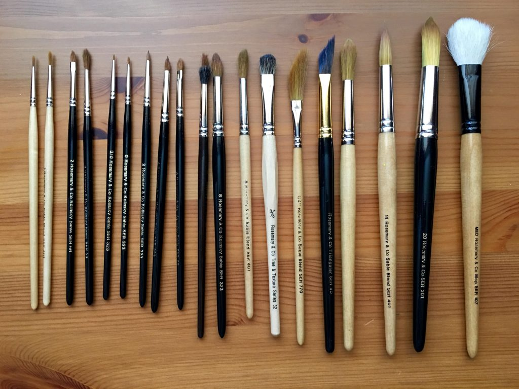 ARTIST QUALITY SYNTHETIC WATERCOLOUR FLAT SHORT BRUSHES set of 6 k