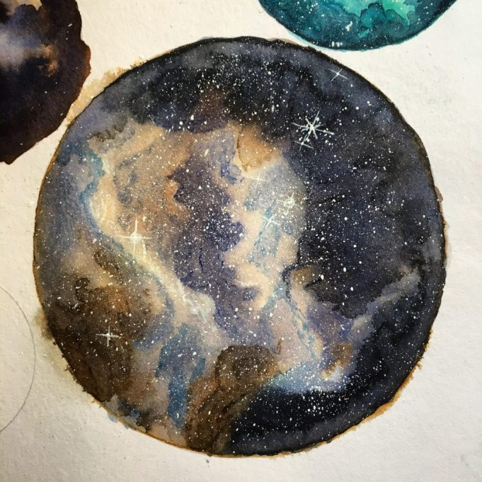 Round Nebula watercolor and ink painting by Jessica Seacrest in a Stillman & birn beta series