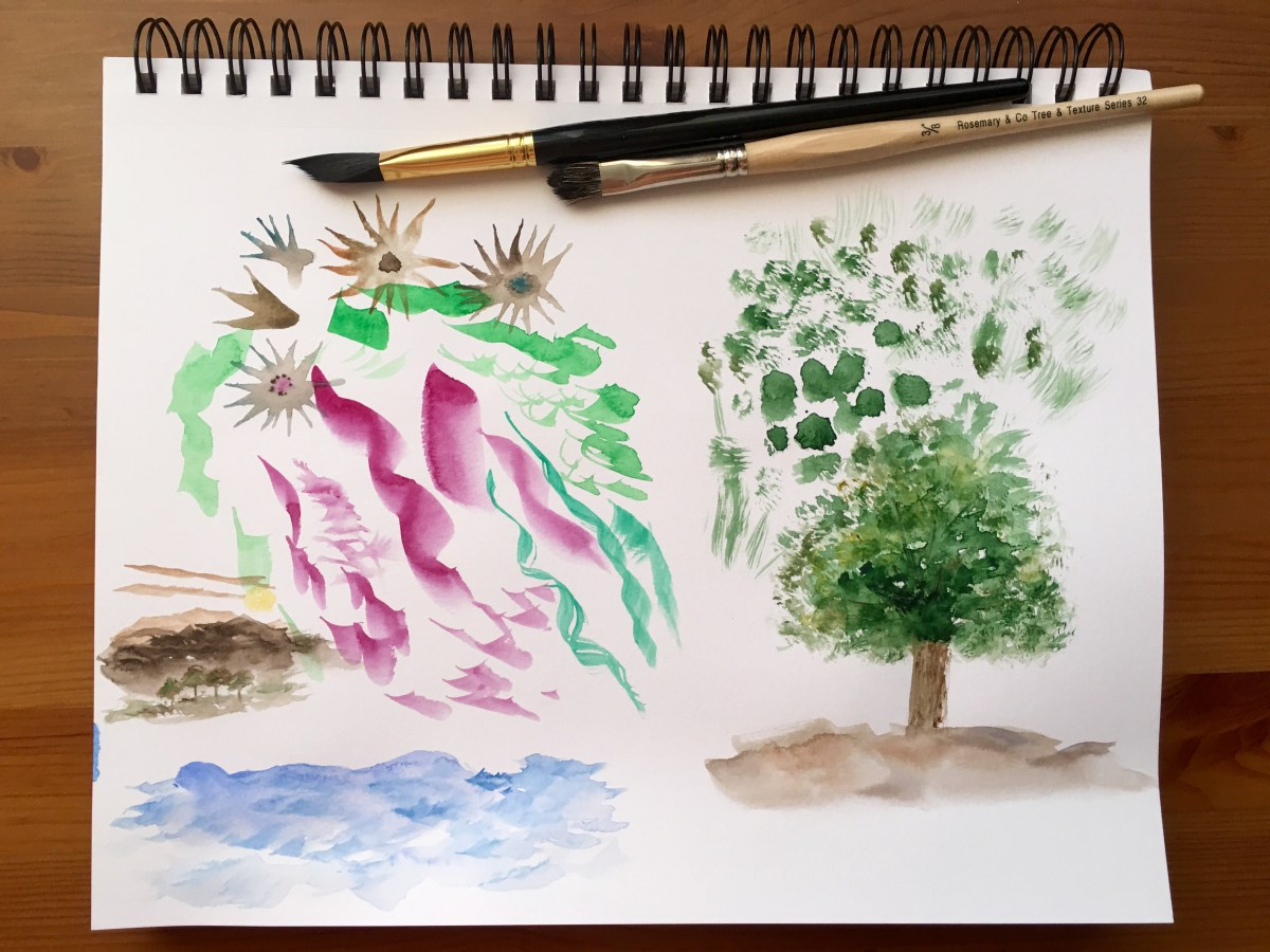 Rosemanry & Co. Tree and texture bush and triangle brush, pyramid brush watercolor painiting example of a tree, waves and mountains on canson XL paper