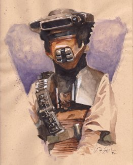Doodlewash and Watercolor Sketch by Danny Beck of Boushh armor Princess Leia Organa Star Wars
