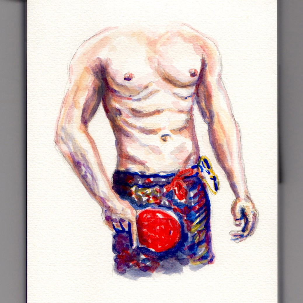 Day 16: #WorldWatercolorMonth male torso abs shirtless playing ping pong in swimsuit