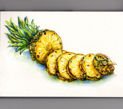 Day 18: #WorldWatercolorMonth Whole Pineapple Sliced Slices white background