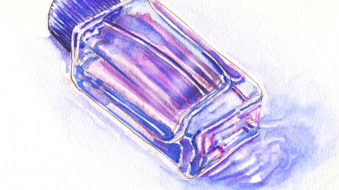 Day 25: #WorldWatercolorMonth Pink and purple perfume bottle glass watercolor