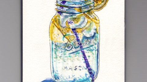 Day 28: #WorldWatercolorMonth Ball Mason Jar with Lemon water and purple straw