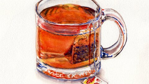 Day 29: #WorldWatercolorMonth Lipton Tea in Glass mug watercolor sketch
