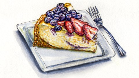 Day 4 #WorldWatercolorMonth Fourth of July Dessert Blueberry Cheesecake With Strawberries
