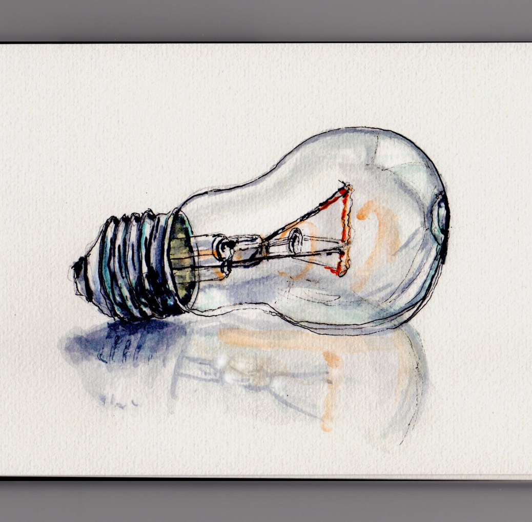 Quick Doodlewash and watercolor sketch of Lightbulb