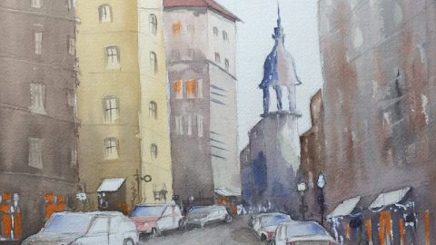 Doodlewash and watercolor sketch by Ritvik Sharma of city street