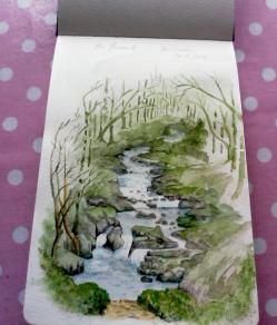 Doodlewash and watercolor painting by Marches Country Lady of view of brook, creek