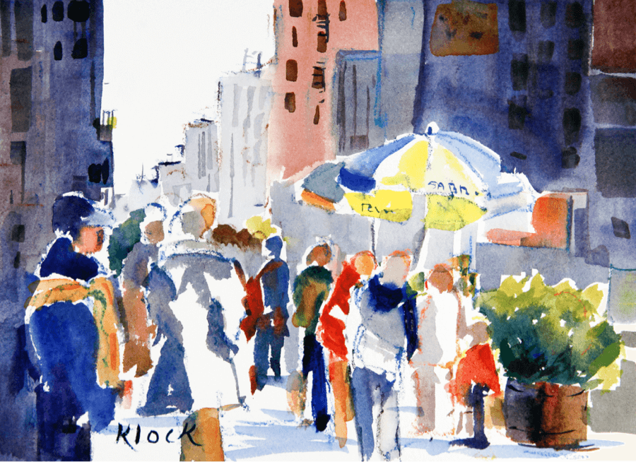 Doodlewash and watercolor sketch by Diane Klock of people on a city street