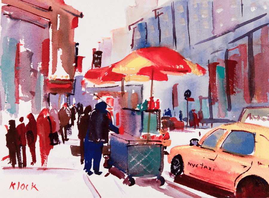 Doodlewash and watercolor sketch by Diane Klock of street food vendors