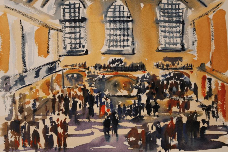 Doodlewash and watercolor sketch by Diane Klock of crowd inside of building