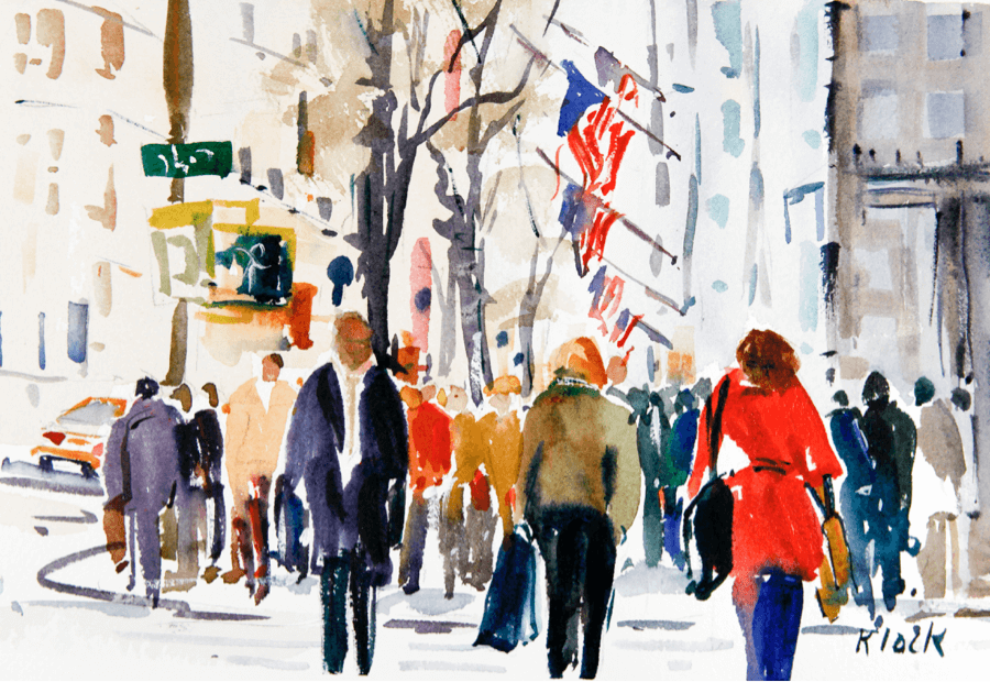 Doodlewash and watercolor sketch by Diane Klock of city street