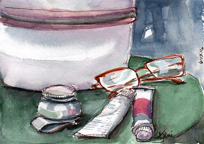 Doodlewash and watercolor sketch by Keni Arts of glasses and paint tubes