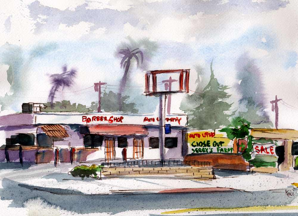 Doodlewash and watercolor sketch by Keni Arts Way of the Wrecking Ball - barber shop