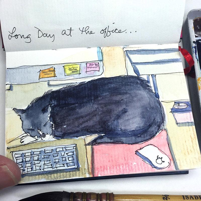 Doodlewash - #nanosketch by Karen Elaine Parsons of cat