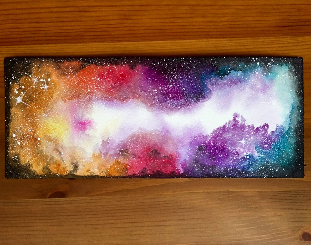 Winsor & Newton watercolor nebula painting by jessica seacrest using limited edition twilight colors