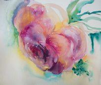 Doodlewash and watercolor sketch by Angela Fehr of rose