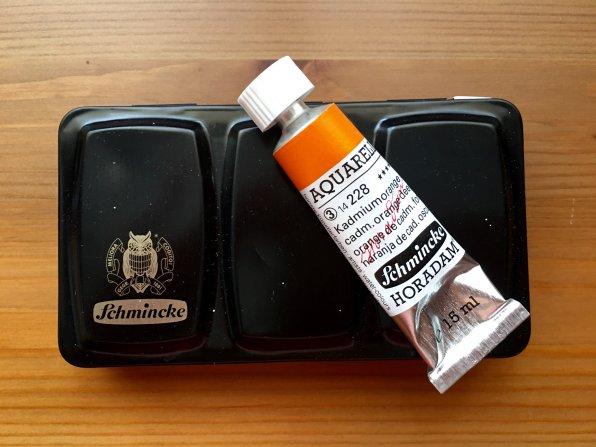 Schmincke aquarell watercolor box and tube or cadmium orange