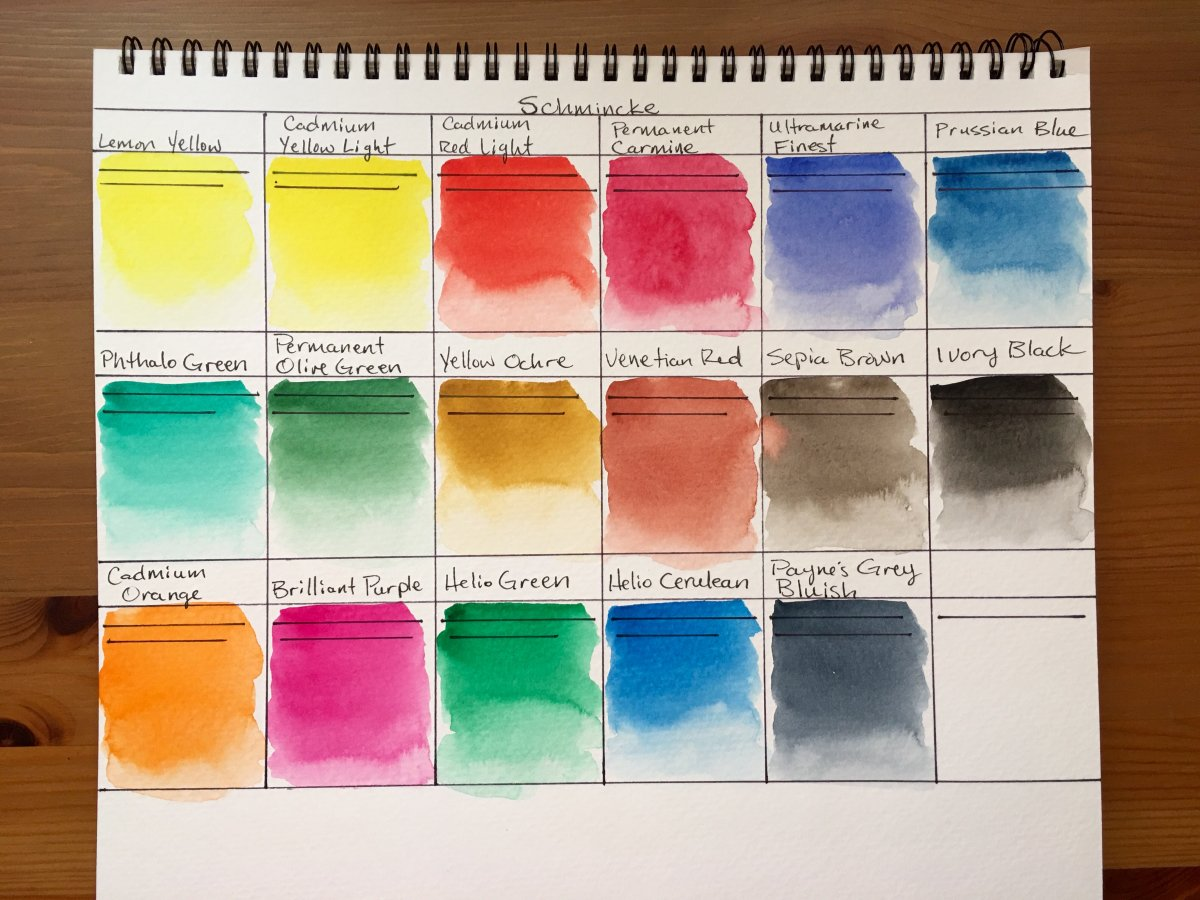 Schmincke watercolor swatches on strathmore 400 series watercolor paper