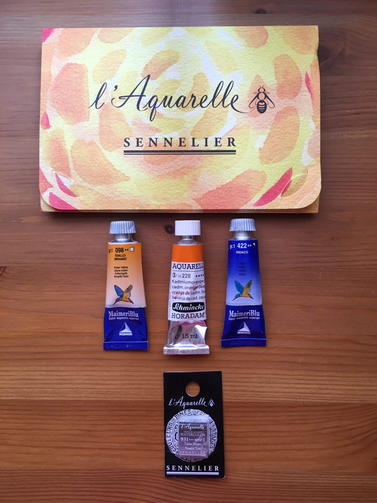 Schmincke, Sennelier, MaimeriBlu watercolour tube, pans and samples