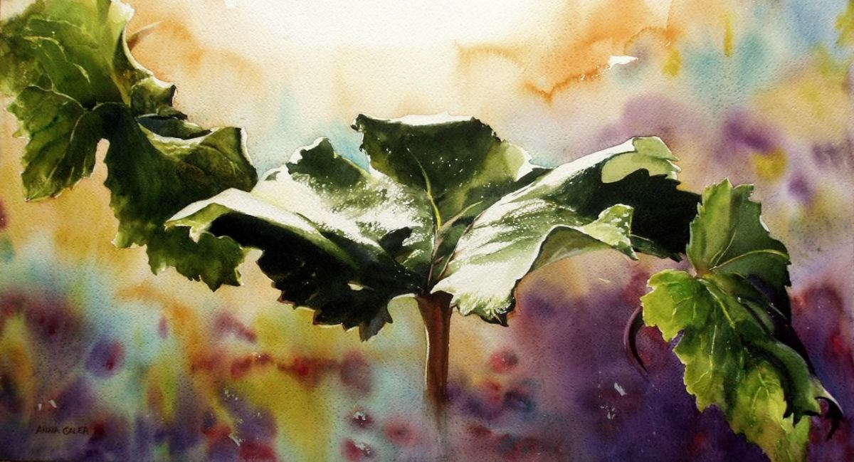 Doodlewash - #WorldWatercolorGroup Watercolor by Anna Galea of leaves