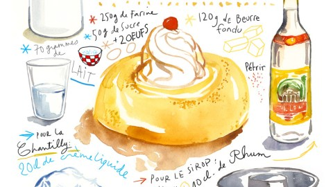 #Doodlewash - Watercolor illustration by Lucile Prache (Lucile's Kitchen) of Le Baba au Rhum Recipe #WorldWatercolorGroup