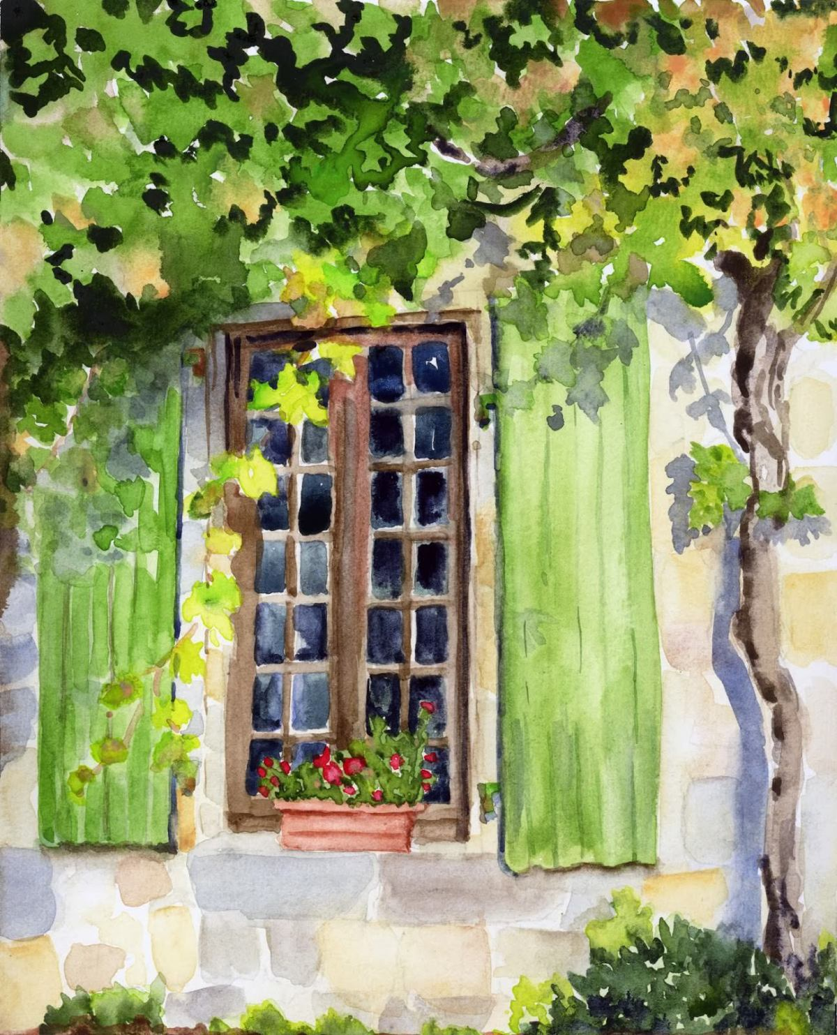 Doodlewash and watercolor sketch by Meliessa Garrison Elliott of Bandouille Window