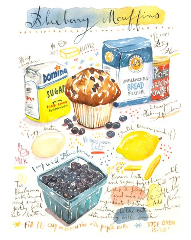 #Doodlewash - Watercolor illustration by Lucile Prache (Lucile's Kitchen) of Blueberry Muffins Recipe #WorldWatercolorGroup