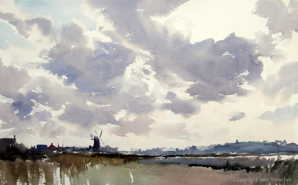 Doodlewash - Studio Watercolor Painting by Jem Bowden of Cley Norfolk after downpour