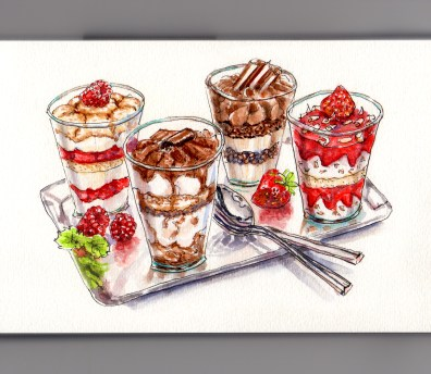My Favorite Dinner Food - Dessert various desserts on metal tray with spoons #WorldWatercolorGroup