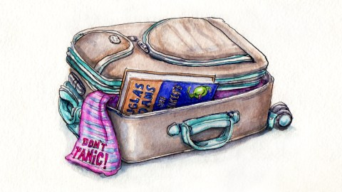 My Favorite Book - #WorldWatercolorGroup - Doodlewash - Hitchhiker's Guide To The Galaxy Book and Don't Panic Towel