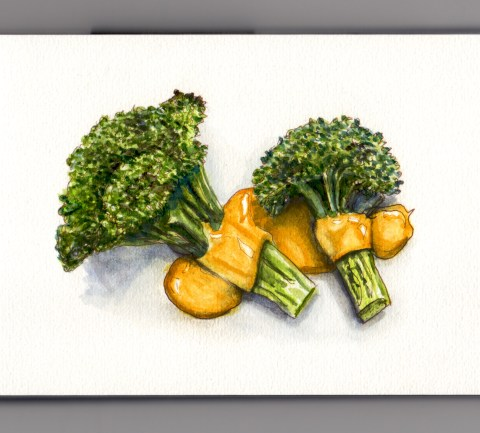 My Favorite Kid's Food Broccoli and Cheese #WorldWatercolorGroup