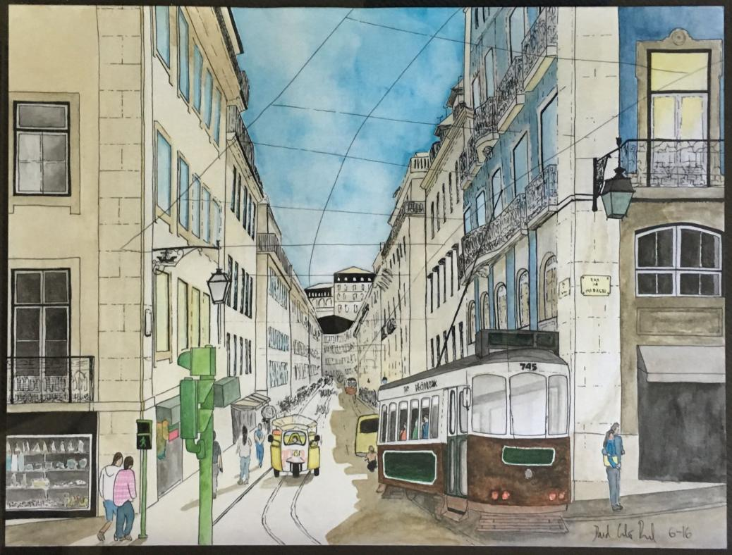 Doodlewash and watercolor by David Calderón Real of city street