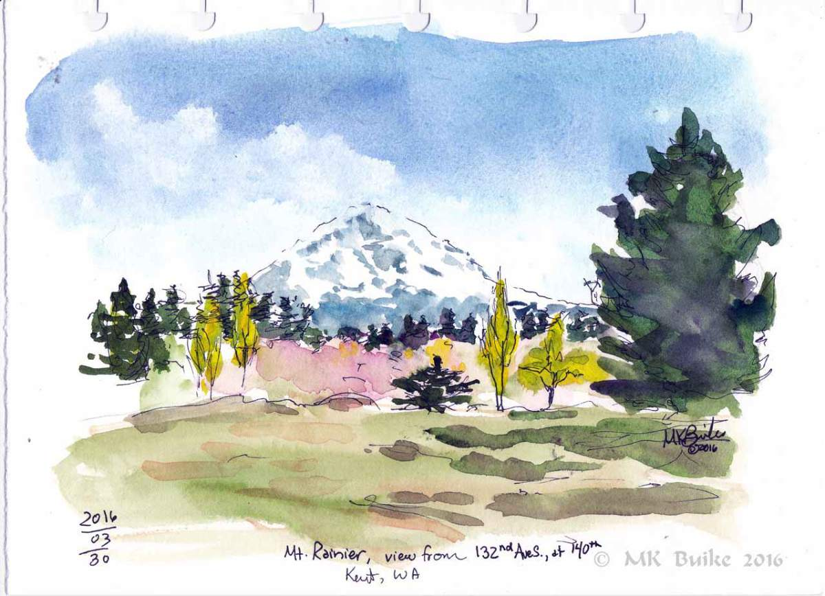 Doodlewash and watercolor sketch by Kate Buike of Mt. Rainier