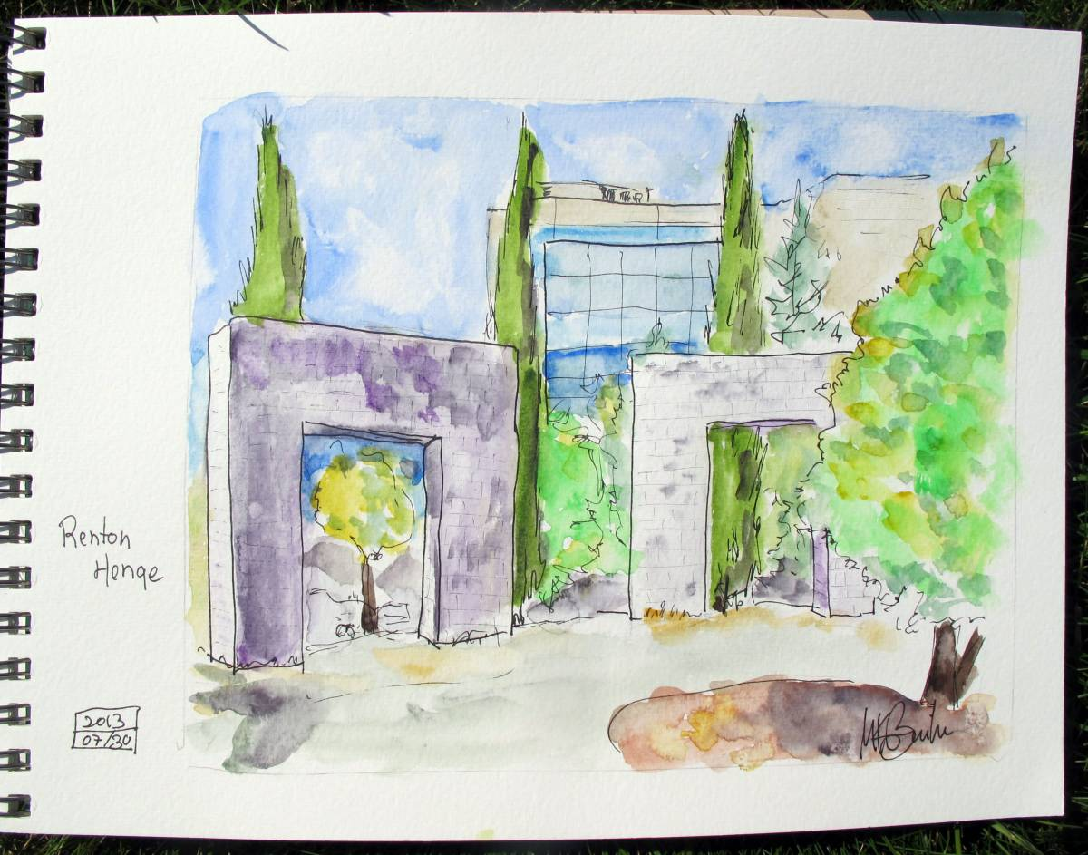 Doodlewash and watercolor sketch by Kate Buike of Renton Henge