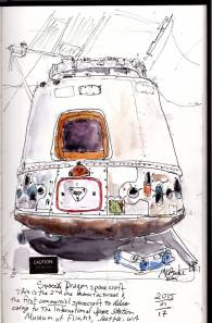 Doodlewash and watercolor sketch by Kate Buike of SpaceX Dragon spacecraft