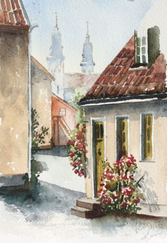Doodlewash - watercolor painting by Karin Åkesdotter of village