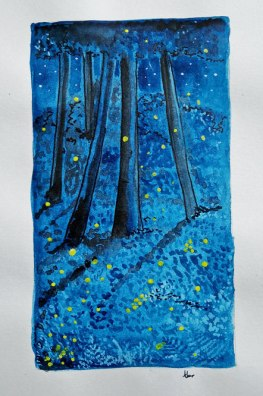 Doodlewash - Watercolor painting by Athira Gopal of fireflies