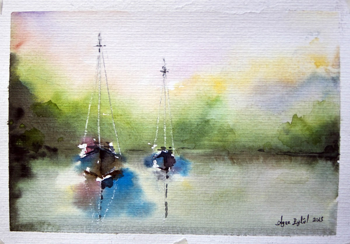 #Doodlewash - watercolor painting by Ayşe Eylül Sönmez of sailboats #WorldWatercolorGroup