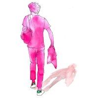 Doodlewash - Watercolor Illustration - Fashion - by James Skarbeck of man walking pink