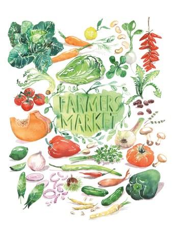 #Doodlewash - Watercolor illustration by Lucile Prache (Lucile's Kitchen) of Farmers Market #WorldWatercolorGroup