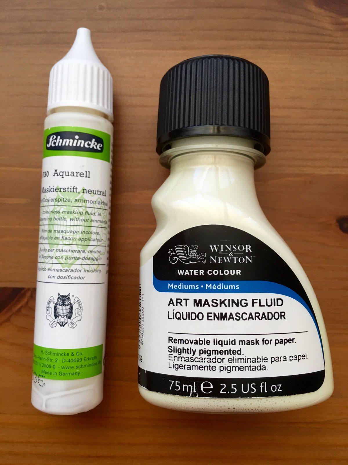 Schmincke, Winsor & Newton, China Marker, Wax Resist masking fluid demo