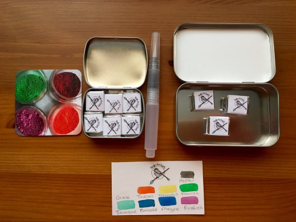 Pfeiffer Art Supply wrapped half pans and tins and handpainted swatch card